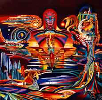Aeon is the Eternal Time Ending and Rebirth . See Buddha, Evil, Atomic Bomb, Woman Nude, Skull, Titanic, Yin and Yang. Oil on Canvas, Artist Chris Staebler.