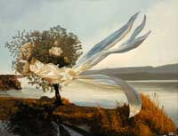 Element Air. Tree with Cloth Flying in the Air in a Swiss Landscape. Oil on Canvas, Artist Chris Staebler