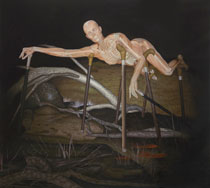 Blood Drop of a Suffering Woman on Six Canes in a Dark Landscape. Oil on Canvas, Artist Chris Staebler.