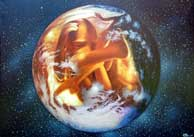 Element Earth. Mother Earth with Foetus in the Universe. Oil on Canvas, Artist Chris Staebler.