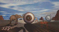 Eye. Eyes in a bizzare landscape with pushing contest between a woman and an elephant. Timed by a clock with multiplying eyes. Oil on Canvas, Artist Chris Staebler.
