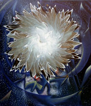 Flower of heart. Deep inside you I shine. Oil on Canvas, Artist Chris Staebler.