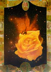 Indian Love. Yellow Rose in Universe in a Old Indian Rupee Frame. Oil on Canvas, Artist Chris Staebler.