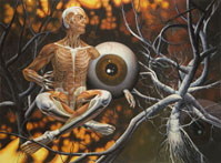 Inside, Human Body, Enveloped in Trees and Roots with Eye. Oil on Canvas, Artist Chris Staebler.