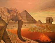 Pharao - The Elephant Named Pharao,  Finds Pyramids, his Ancesters Built. Oil on Canvas, Artist Chris Staebler.