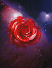 Red Rose in the Orion. I travel through time to you. Oil on Canvas, Artist Chris Staebler.