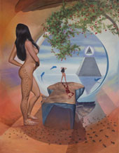 Secrets of Atlantis a Woman Nude. Ants, Rose Garden and the One Dollar Pyramid. Oil on Canvas, Artist Chris Staebler